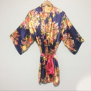 Other - Floral navy blue satin feel robe with pink belt
